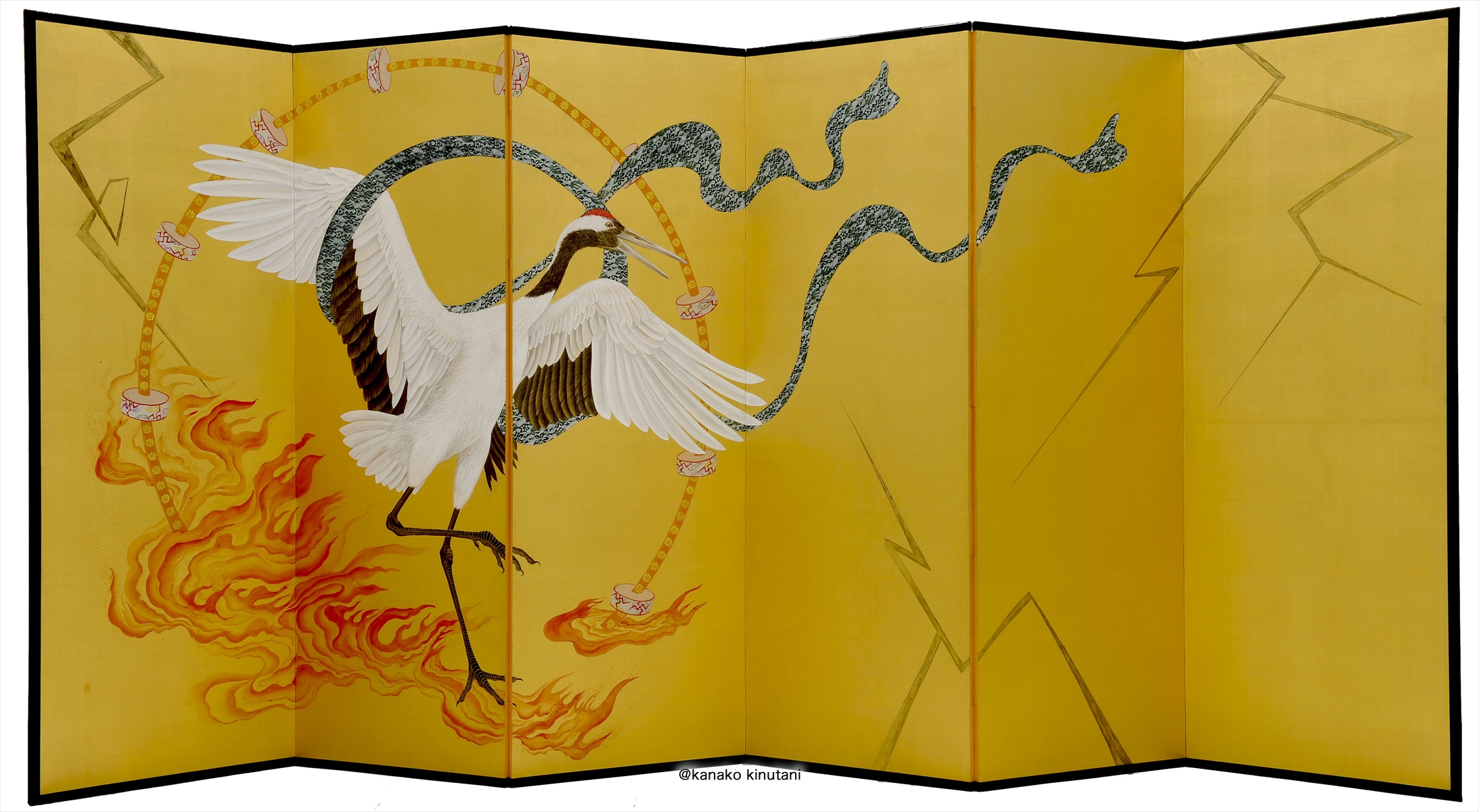 The Wind and Thunder Gods (a folding screen with six panels)