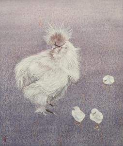 絹羽雌鶏図