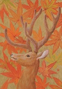 Hanafuda 紅葉に鹿