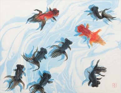 游水と8匹の金魚